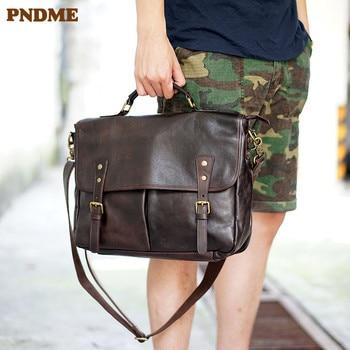 PNDME fashion vintage genuine leather mens briefcase business casual high quality luxury soft real cowhide laptop shoulder bag