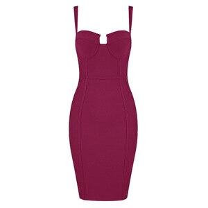 Image 4 - 9 ألوان السيدات مثير الأزرق الأصفر الأسود رايون المرأة الصيف ضمادة فستان 2020 المشاهير مصمم موضة فستان الحفلات Vestido