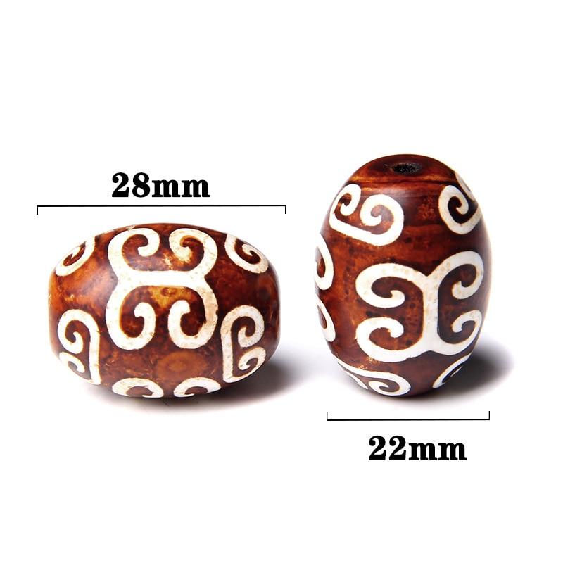 Mala Prayer Beads with eyes Antique Red /& Brown Oval Tube Dzi Beads Full Strand Big Barrel Vintage Tibetan Agate 40*19mm Wholesale