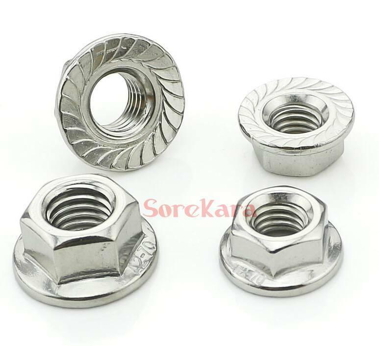 STAINLESS STEEL HEXAGON FLANGE NUT GRADE 304-A2 SERRATED FLANGE NUT M6 6mm 6MM