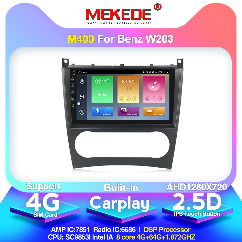 4G LTE android10.0 4G+64G Car Multimedia <font><b>GPS</b></font> Navigation Radio Player for <font><b>Mercedes</b></font> Benz <font><b>W203</b></font> C180 C200 C220 C230 C240 C250 W209 image