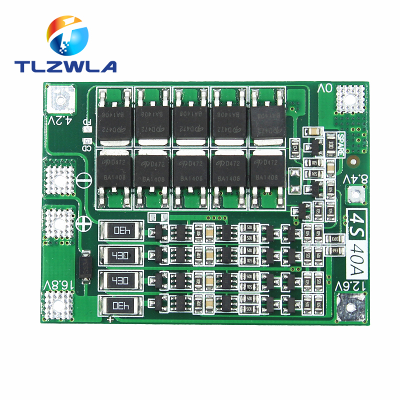 1pcs 4S 40A Li-ion Lithium Battery 18650 Charger PCB BMS Protection Board With Balance For 14.8V 16.8V Lipo Cell Module