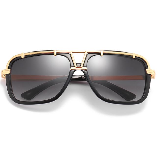 2020 Fashion Men Flat Top Sunglasses Classic Women Brand Designer Metal Square Sun Glasses UV400 Protection 2