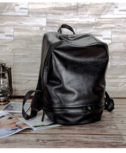 Barrel Travel Outing Hiking Backpack PU Leather Large Capacity Commuter Laptop School Bag
