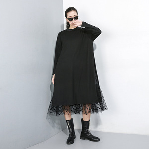 Image 4 - Novo estilo japonês 2019 mulheres inverno sólido preto vestido longo lado split malha hem senhoras tamanho grande vestido reto robe femme j235