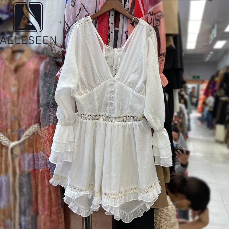 AELESEEN модное белое платье с v образным вырезом и открытой спиной, кружевные лоскутные оборки, элегантные сексуальные вечерние мини платья Платья    АлиЭкспресс