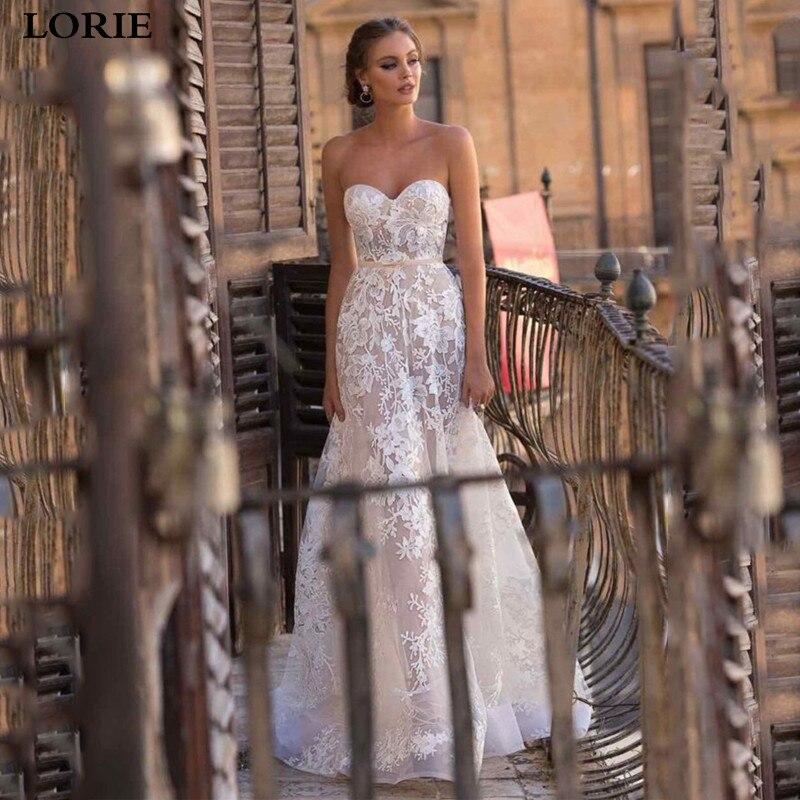 LORIE Princess Wedding Dress 2019 Vestidos De Novia Sweetheart Lace Bride Dresses Sexy Backless Wedding Gowns