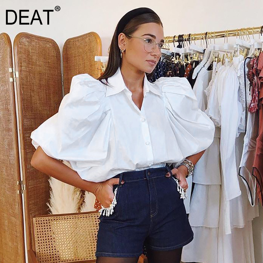 DEAT 2020 Spring Long Batwing Sleeve Turn Down Collar White Shirt Women Tops MH965