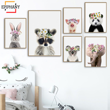 Animals with Flower Crowns Giraffe Panda Zebra Monkey Art Print Zoo Safari Animal Nursery Girls Room Wall Painting Pictures
