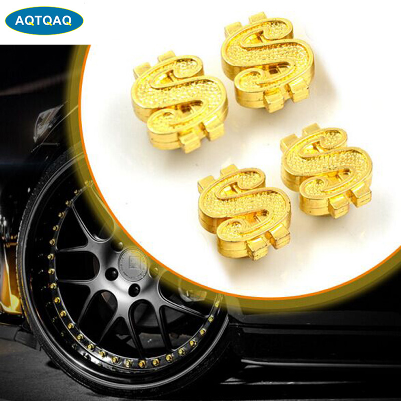 4Pcs/lot Universal Car Moto Bike Dollar Symbol Wheel Tire Valve Stem Caps Dust Cover Car Styling