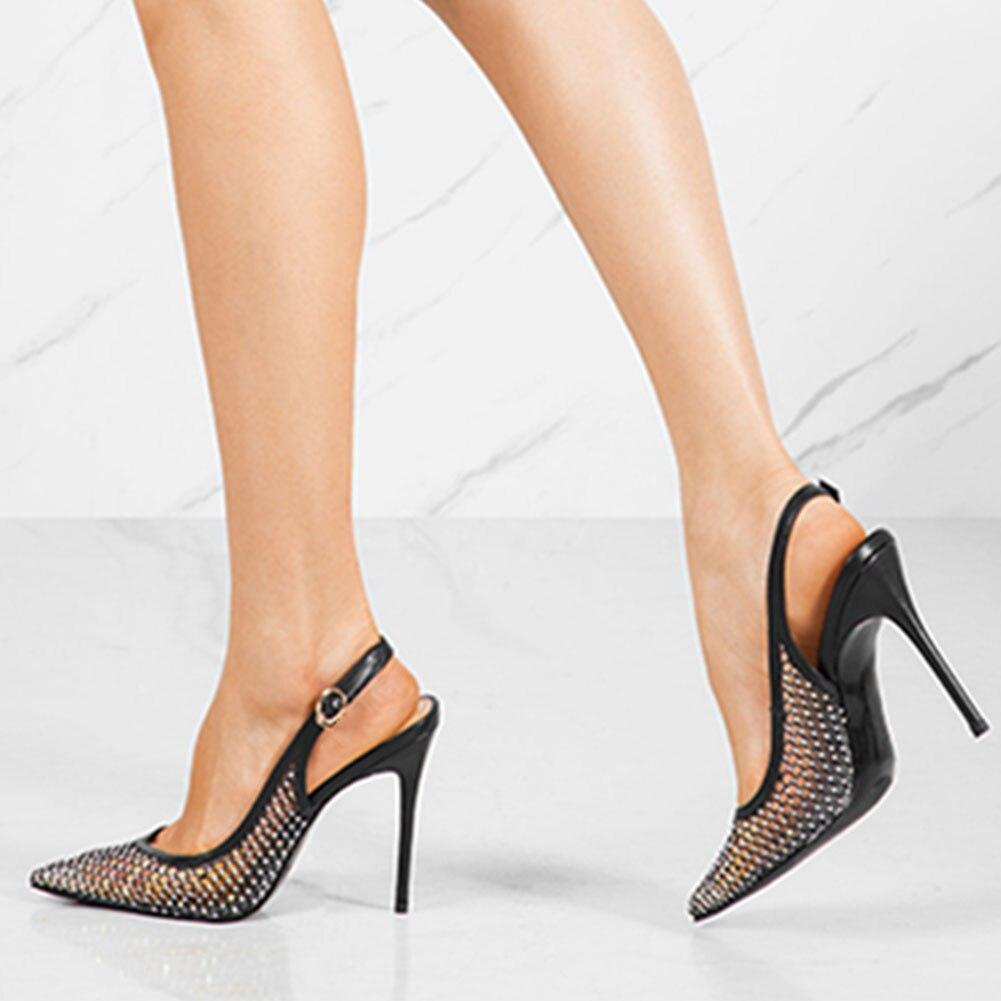 Karinluna Brand New Fetish Pointed Toe High Heels Big Size 45 Shoes Women Summer Air Mesh Slingback Sandals Woman