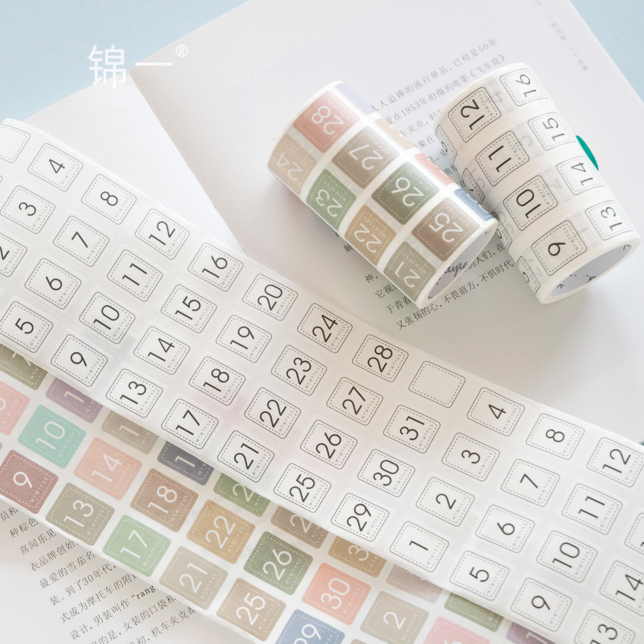 WOKO Fresh Color Number Date Label Sticker Simple Calendar Weekly Daily Die Cut Kawaii Washi Tape DIY Scrapbooking Masking Tape