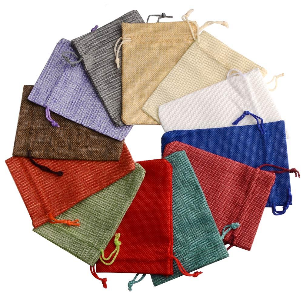 Джутовый мешочек на шнурках 50 шт./лот, льняные подарочные пакеты, разноцветные мешочки для упаковки ювелирных изделий, свадебные мешочки дл...