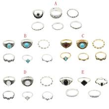 5 Styles Fashion Vintage Color Metal Acrylic Finger Ring Sets for Women Boho Wedding Party Jewelry