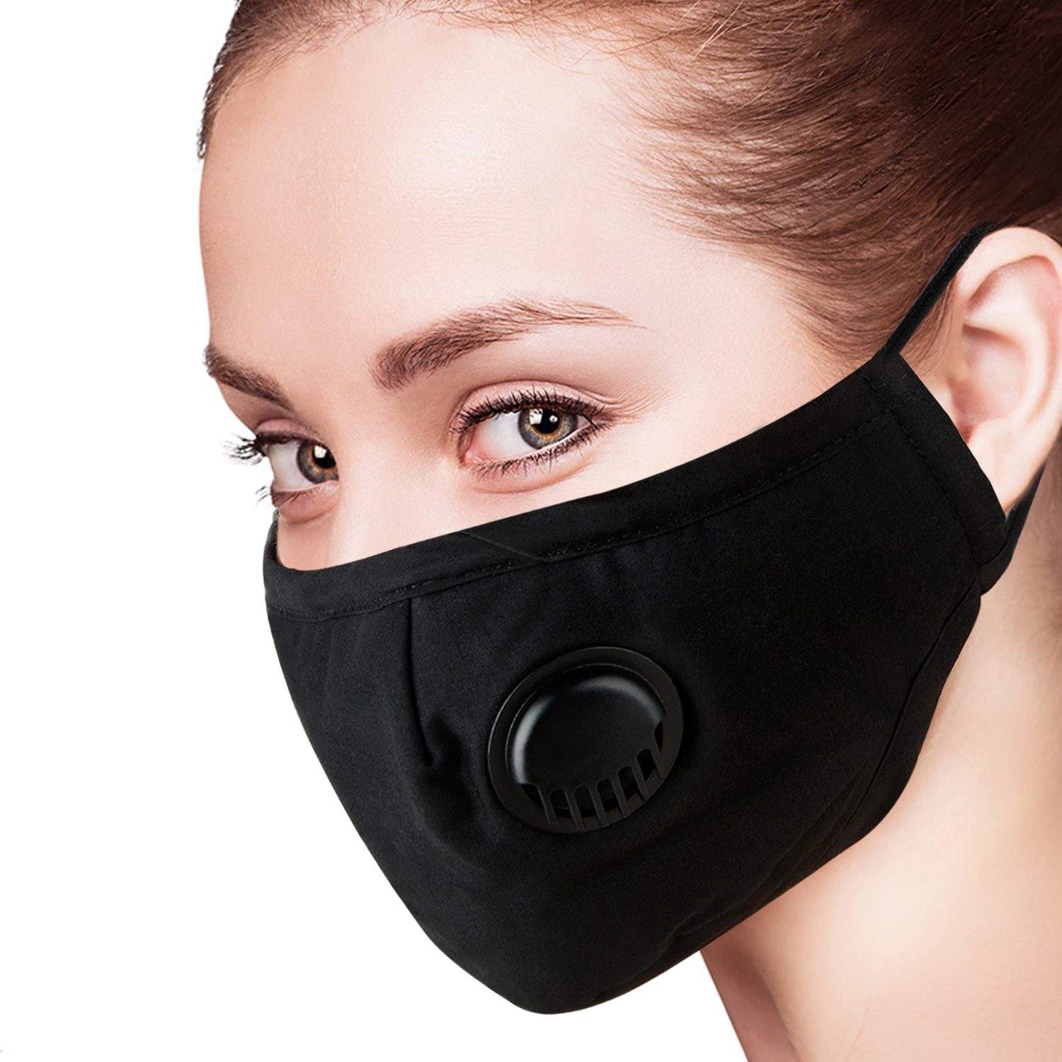 10 Pcs Face Mask Dust Mask Anti Pollution Mask PM2.5 Activated Carbon Filter Insert Black Breathable Valve Mask Mouth Cover