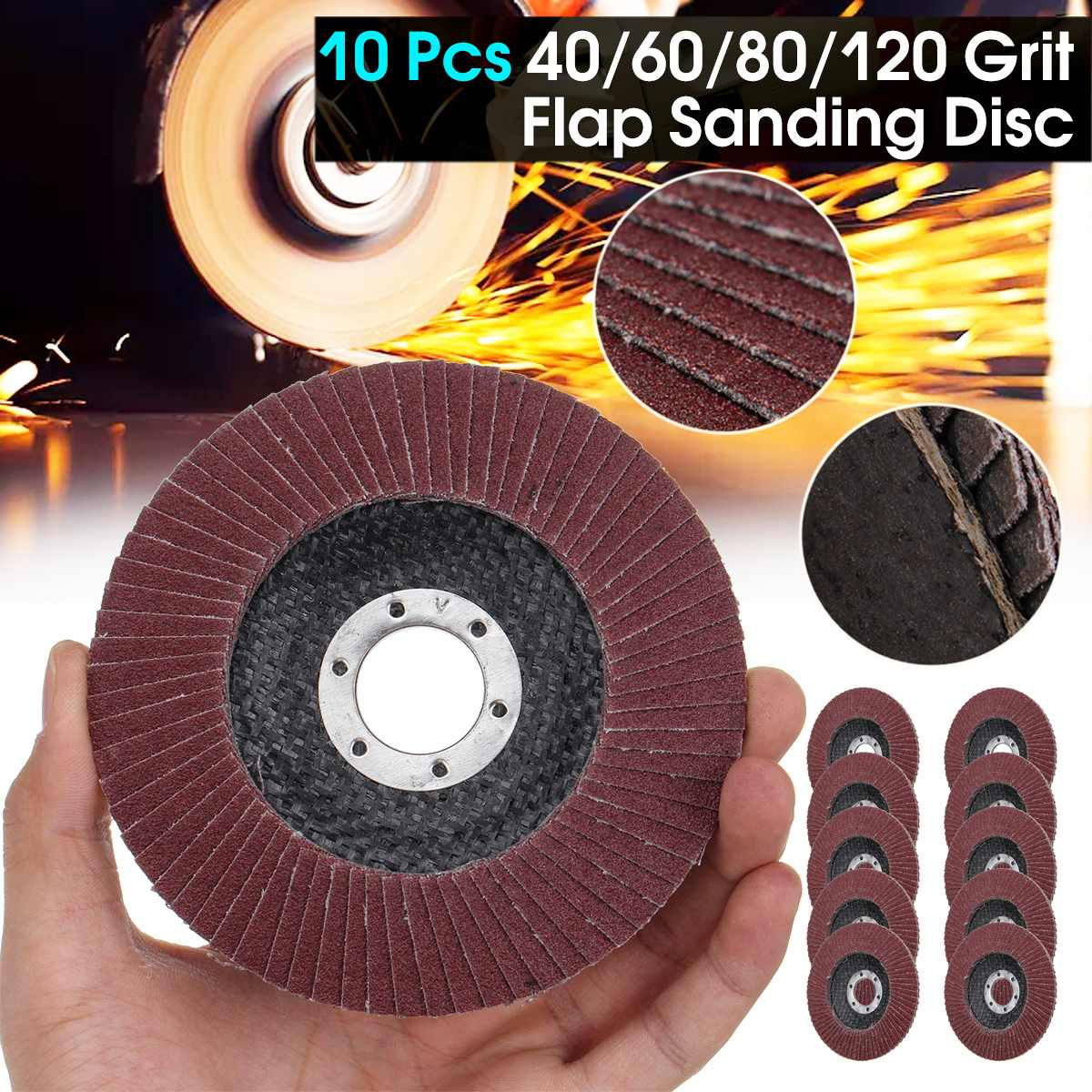 10PCS 40/60/80/120 Grit Grinding Wheels Flap Discs 125mm 115mm 4.5