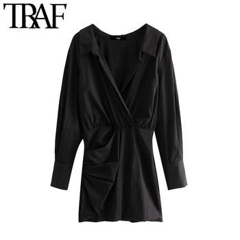 TRAF mujeres Chic moda drapeada Mini camisa vestido Vintage Crossover cuello pico manga larga Mujer Vestidos Mujer