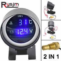 LED ronde numérique voiture camion eau jauge de température capteur de température températura moto + voltmètre Volt Voltage mètre 2 en 1 12V 24V
