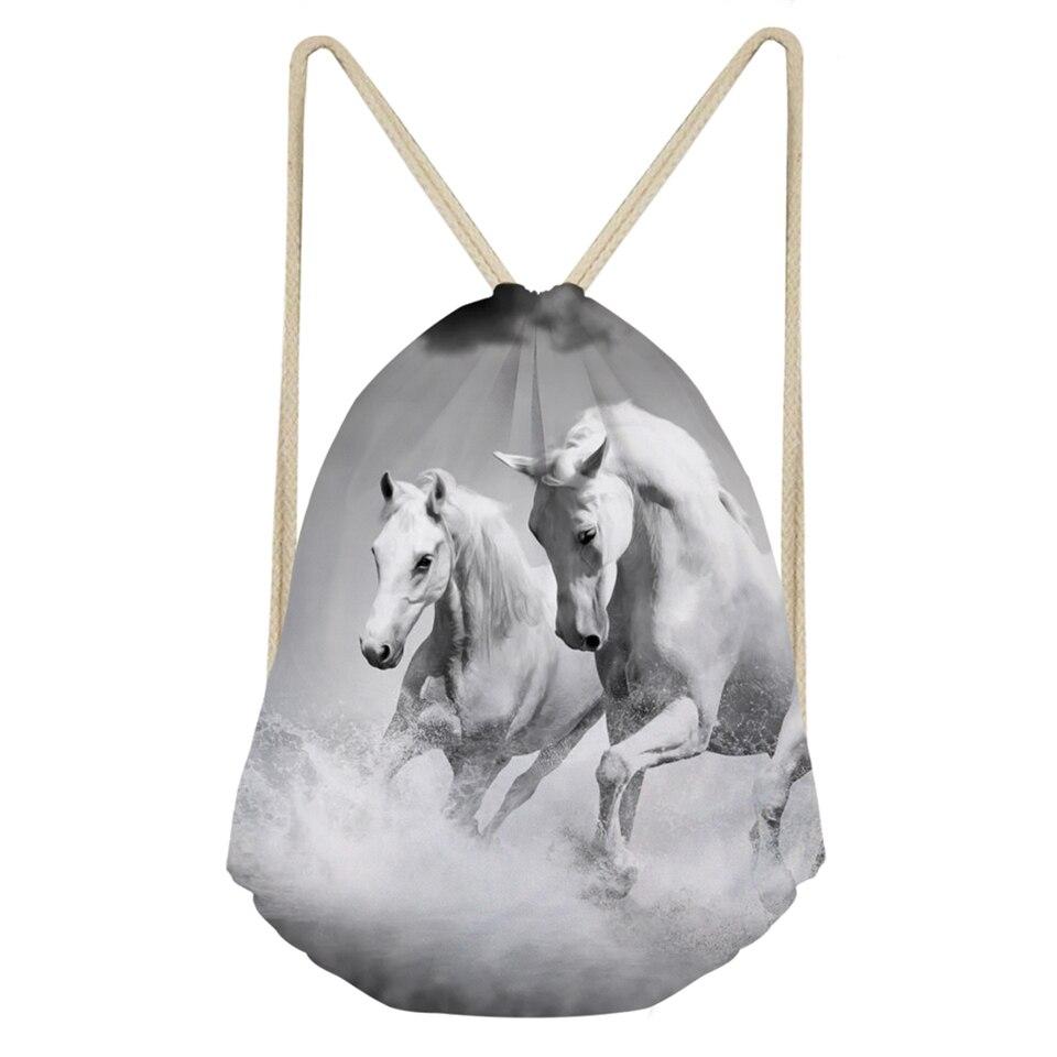 Модные миниатюрные Сумки на завязках с рисунком белой лошади и карманами, дорожный рюкзак для девочек с мультяшным принтом животных