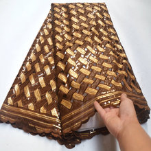 Lace-Fabric Sequins Organza Gold Nigerian French High-Quality African Coffe with Handcut