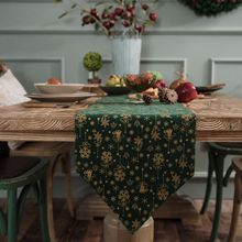 Table Runner Christmas Party Decorations Green Gold Placemats Table Cloth Runners Rustic Home Dining Foom Table