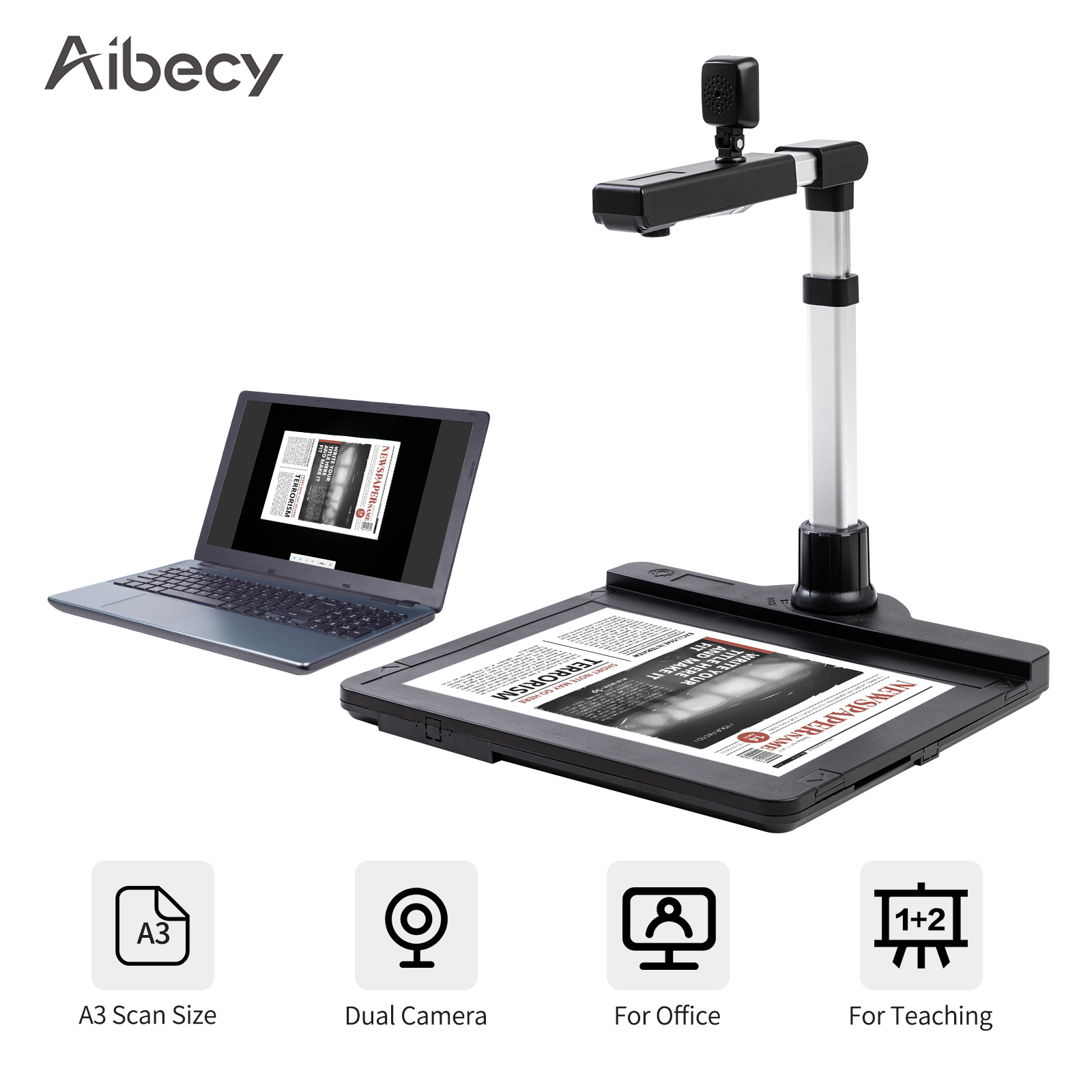 Aibecy X1000 USB2.0 Scanner Dual Camera A3 Capture Document Camera Scanner with LED OCR Video Recording Convert to PDF Format