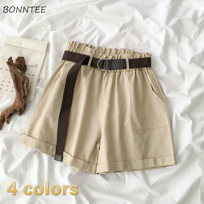Shorts Women Solid Pockets Wide Leg With Sashes Korean Trendy Elegant Vintage Cotton Hot Sale New Arrival Womens Daily All-match