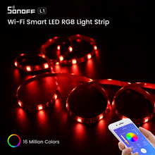 Itead SONOFF L1 Wifi RGB Led אור רצועת 5050 חכם Frexible גזיר Led רצועת Waterproof עובד עם Alexa Google בית eWeLink