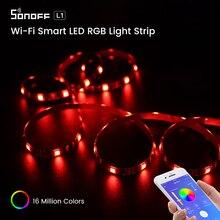 SONOFF tira de luces Led inteligente con Wifi y RGB, tira de luces Led inteligente y flexible, impermeable, funciona con Alexa, Google Home y eWeLink, modelo L1 5050