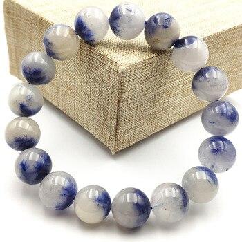 12mm Genuine Natural Blue Dumortierite Quartz Rutilated Crystal Women Men Gemstone Round Beads Rare Reiki Stone Bracelet AAAA