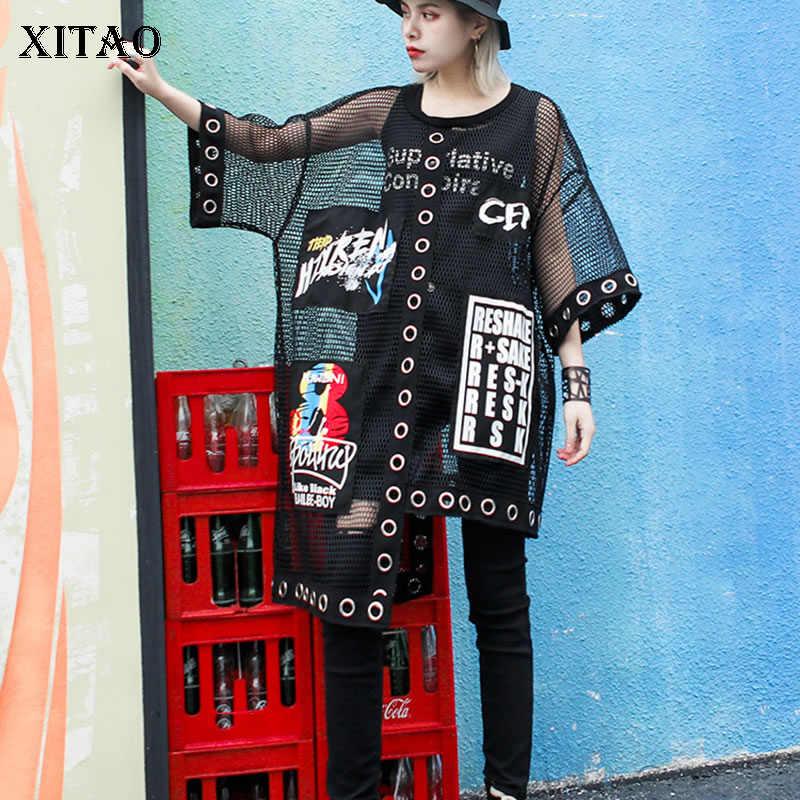 Xitao Hollow Out Splice Grid Vrouwen T-shirt Zomer Plus Size Streetwear Koreaanse Stijl Kleding Print Brief Zwart Netto Tops WBB3401