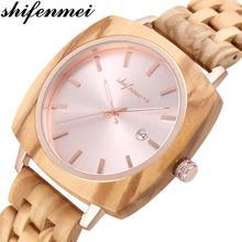 цена на Shifenmei Wood Watch Mens Watches 2020 Luxury Brand Military Watch Men Quartz Wristwatch Man Sports Watches Male erkek kol saati