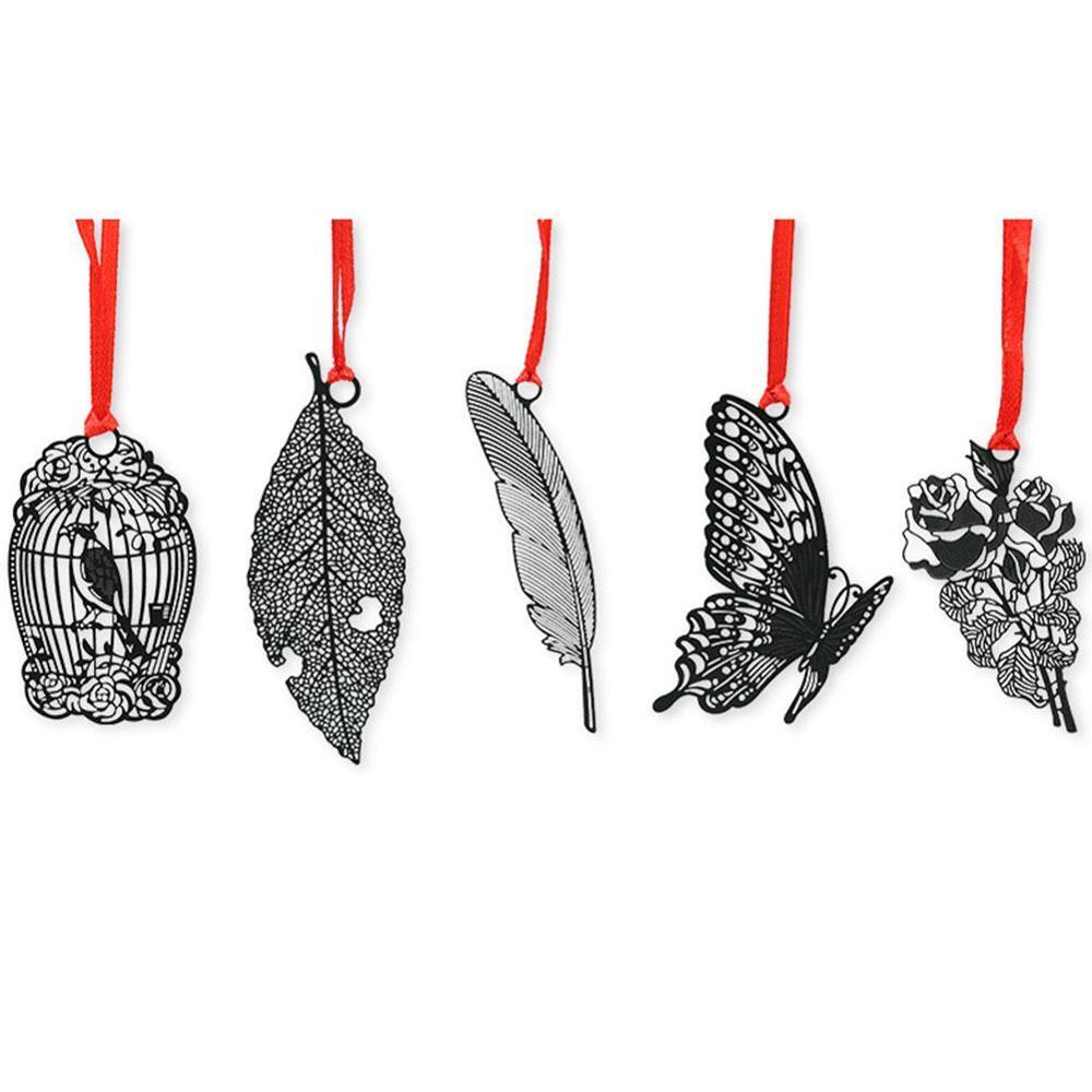5pcs DIY Cute Kawaii Black Butterfly Feather Metal Bookmark For Book Paper Creative Items Lovely Korean Stationery Gift Package