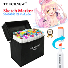 цена на TOUCHNEW 30/40/60/80/168 Colors Sketch Marker Pen Set Twin Markers Brush Pen for Drawing Manga Architecture Design Art Supplies