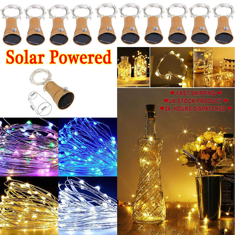 10 LEDs Solar Wire Bottle String Lights Garland Starry Lamps LED Fairy Solar Light For Party Wedding Christmas Decoration D40