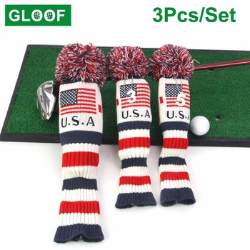 3Pcs/Set Golf Club Driver 3 5 Wood Head Covers Driver and Fairway Knit USA Flag Pom Classic Long Neck Woods Headcovers