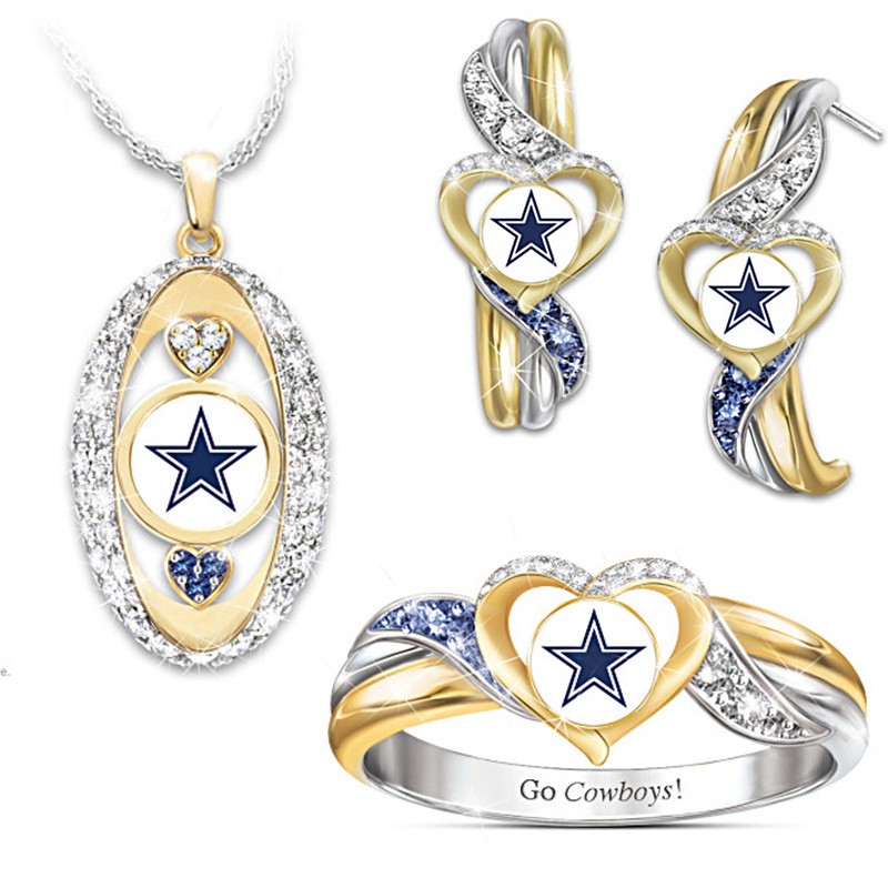 Fashion Go Cowboys Jewelry Sparkling Zircon Gold color heart Star ring size 6 7 8 9 10 Top quality party rings for women Bague