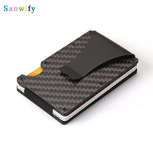 New Carbon Fiber Credit Card Holder Money Id Card Holder Mini Metal Aluminum Card Wallet(China)