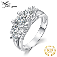 JPalace 3 Stone 3ct Vintage CZ Engagement Ring 925 Sterling Silver Rings for Women Anniversary Wedding Rings Silver 925 Jewelry venidy female natural resizable opal ring fashion red 925 sterling silver jewelry vintage wedding rings for women birthday stone