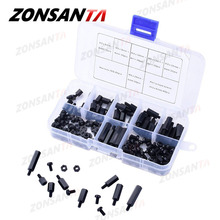 ZONSANTA 180Pcs M3  Black White Male Hex Nylon Spacer Column PCB Standoff Fixed Round Head Nylon Plastic Spacing Screws Nuts