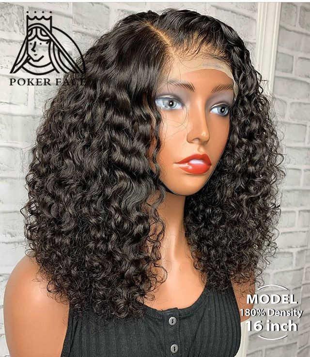 Krótki Bob Curly 13X4 koronki przodu włosów ludzkich peruk wstępnie oskubane z dzieckiem włosy peruwiański głęboka koronkowa fala Frontal peruka 4X4 zamknięcie peruki