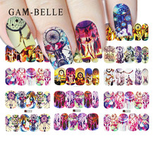 GAM-BELLE 1pc Nail Stickers Set Brilliant color butterfly Designs Nail Art Decals Sliders Transfer Foil Decoration Manicure(China)