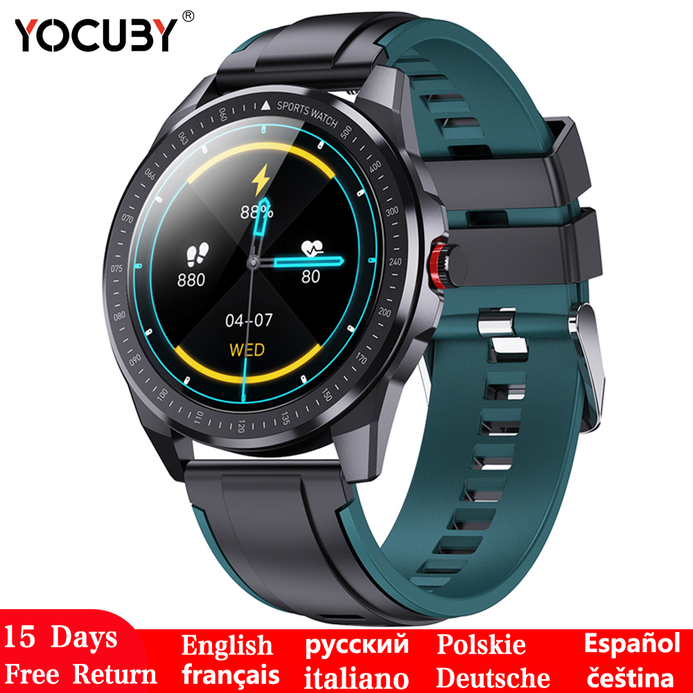 YOCUBY Smart Watch Men Smartwatch IP68 Waterproof Call Reminder Heart Rate Sleep Monitor Custom Watch Face Pedometer