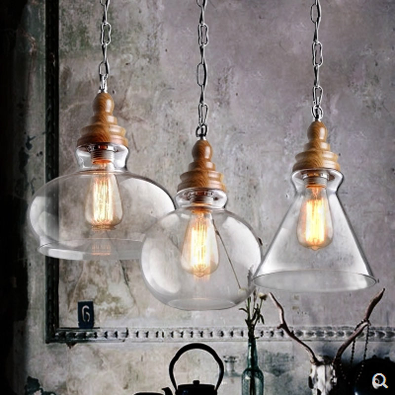 Loft Industrial Glass Bubble Pendant Lights Rustic Lights Wood Farmhouse Decor Kitchen Island Lighting Fixtures Pendant Lights Aliexpress