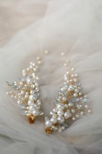 Image 5 - Crystal Bridesmaid Headdress Opal Bridal Hair Clip Hairpin Handmade Gold Bride Head Piece For Women Wedding Party Accessories