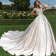 BECHOYER 3D Flower Appliques Wedding Dress 2020 Sweetheart A Line Illusion Court Train Princess Bride Gown Vestido de Noiva F196
