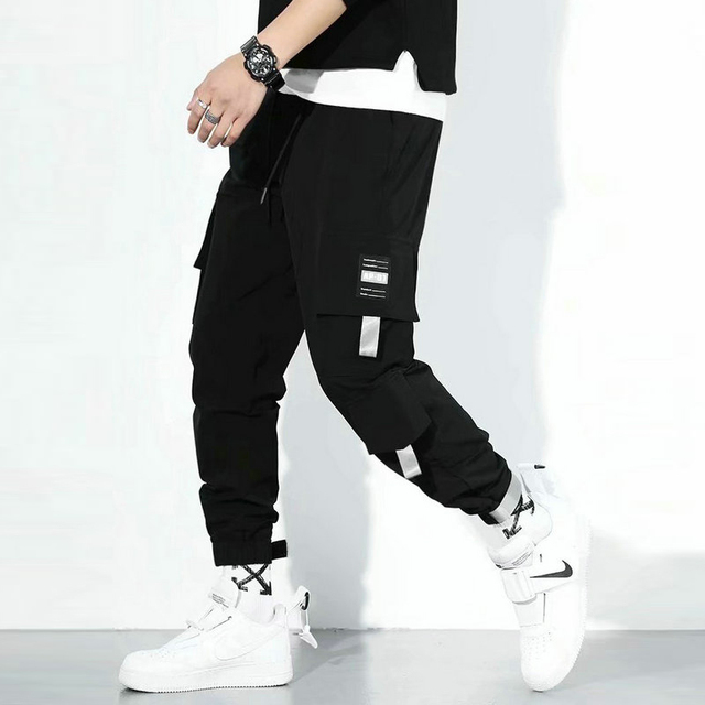Streetwear Men's Multi Pockets Cargo Harem Pants Hip Hop Casual Male Track Pants Joggers Trousers Fashion Harajuku Men Pants 4