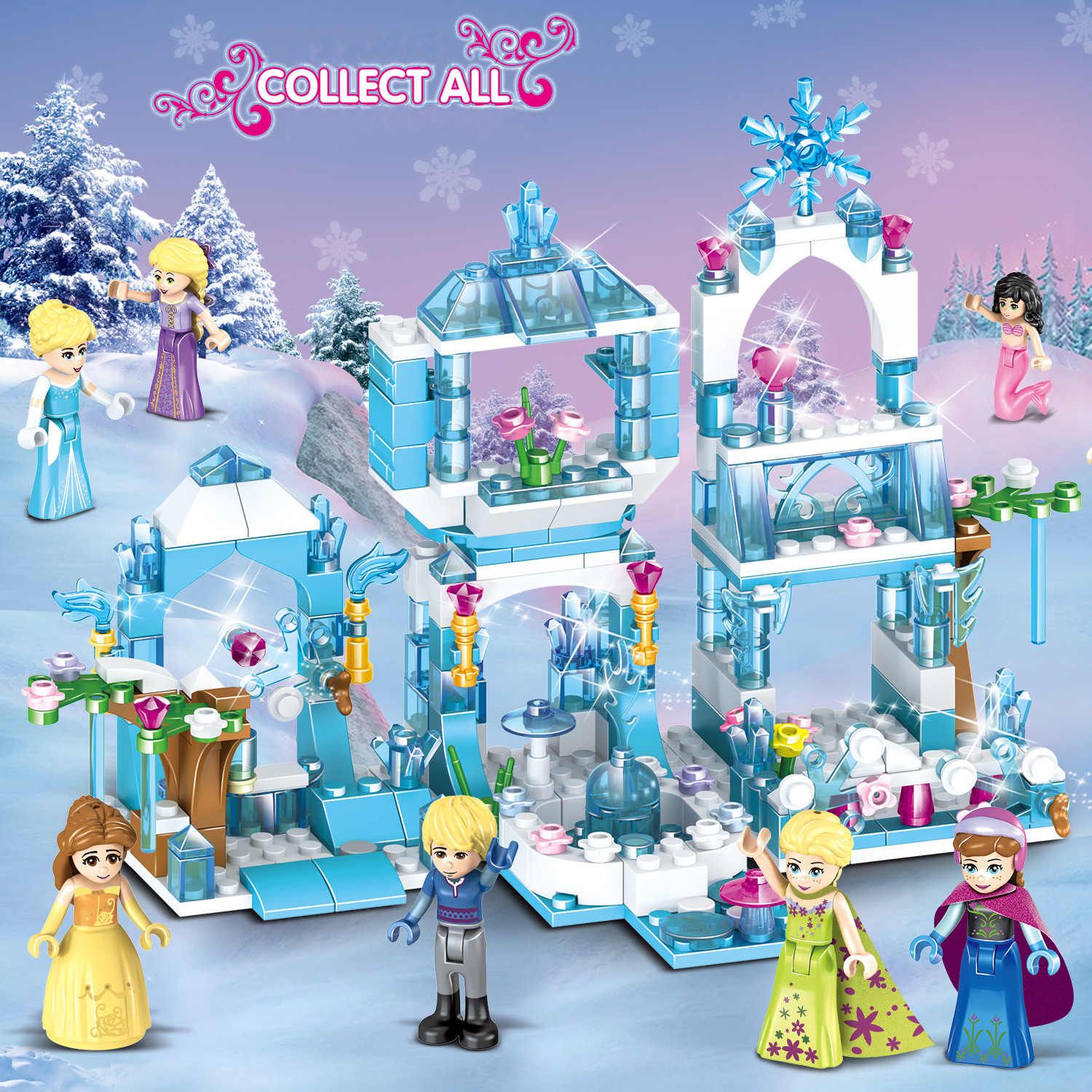 Kid's Building Blocks Princess 8 In 1Frozens Princess Snow Queen Ice CastleModel Compatible Legoings Brick Toys For Children