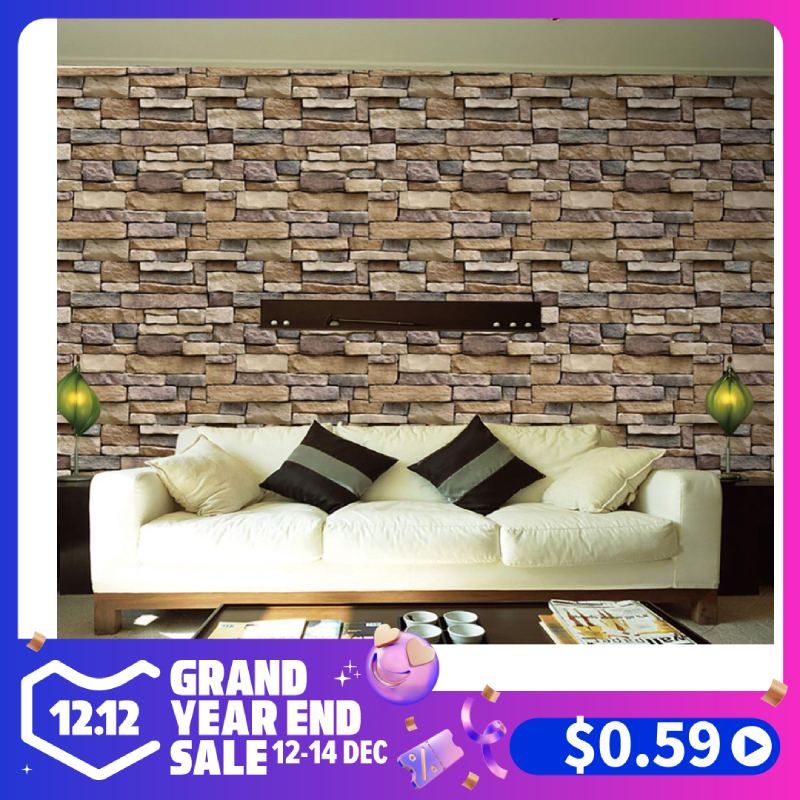 3D Stone Brick Wallpaper Removable PVC Wall Sticker Home Decor Art Wall Paper for Bedroom Living Room Background Decal Sale