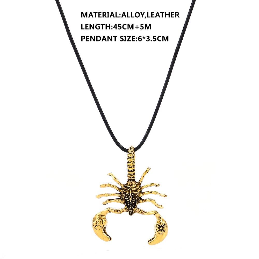 Fashion Jewelry Men Punk Scorpion Pendant Leather Rope Necklace Neck Accessory